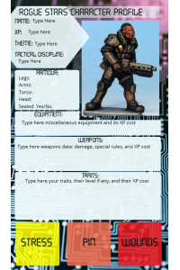 Rogue Stars- Markers and blank character card